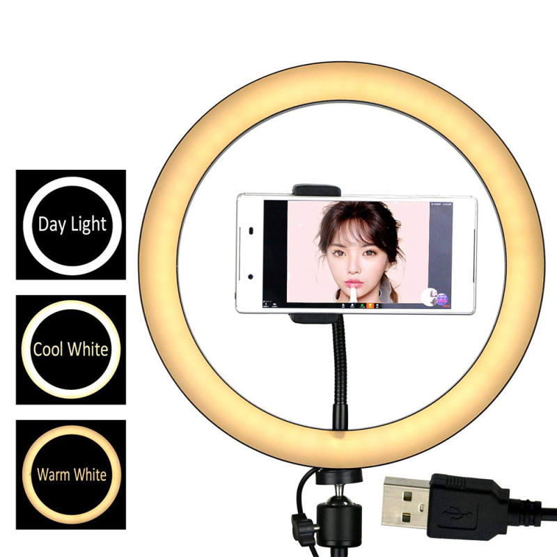 8/10/12 Inch Ring Light With Stand-Rovtop LED Camera Selfie Light Ring For Cell Phone Tripod Holder For Live Makeup/Photography
