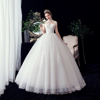 New Crystal Bridal Wedding Dress Stand Collar Flower Lace Wedding Dress Strapless Vintage Bride Gown Vestidos De Novia Ball Gown