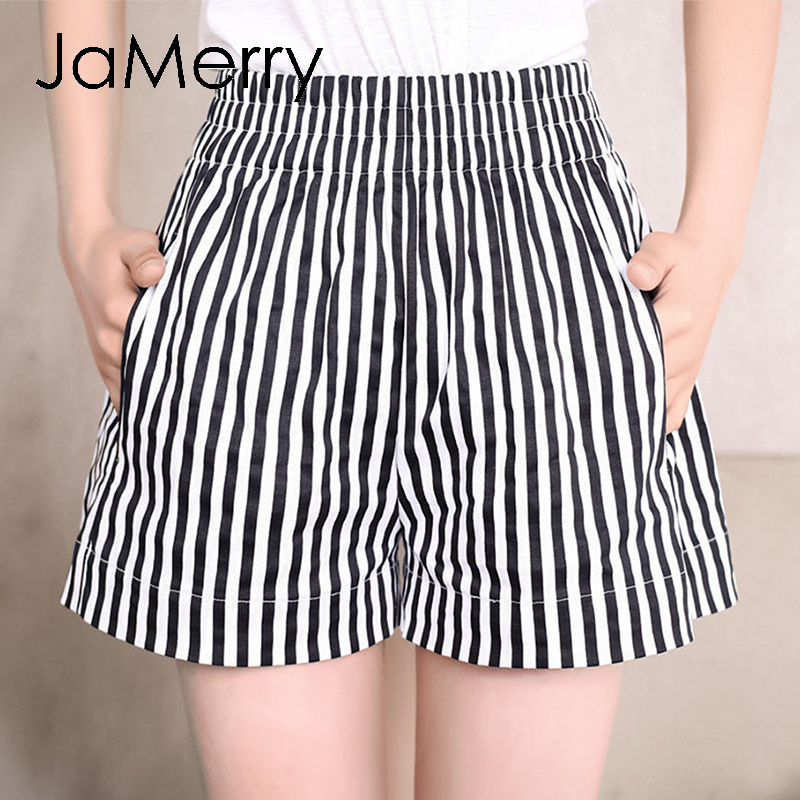 JaMerry Summer Striped Elastic Waist Short Women 2020 Holiday Vintage High Waist Female Short Casual Loose Beach Hot Shorts Lady