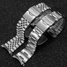 Pasek stalowy pasek 20mm 22mm bez szwu składany klamra nurkowanie mężczyźni wymienny sportowy pasek bransoletka zegarek dla Seiko Rolex zielony duch wody