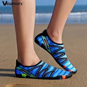 VEAMORS Men Women Aqua Shoes Quick Dry Swim Water Sneakers Lover Upstream Lightweight Flat Shoes Outdoor Slip-on Beach Sneakers women men s flexible water shoes slip on pool beach swim surf yoga skin shoes