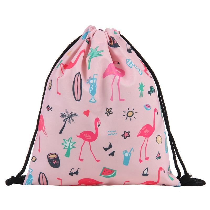 Fashion Drawstring Bag Printing Flamingo Mochila Feminina Drawstring Backpack Women Daily Casual Girl's Knapsack