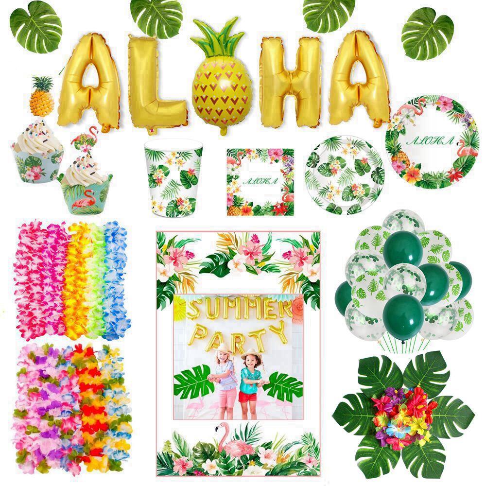 Гавайи посуда Фламинго Гавайская тропическая вечерние Декор пальмовых листьев зеленых воздушных шаров для Для летних вечеринок вечерние Л...