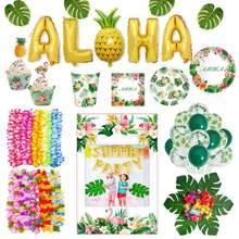 Hawaii utensílios de mesa flamingo tropical havaiano decoração de festa folha de palmeira balões verdes férias festa de verão luau aloha fontes de festa