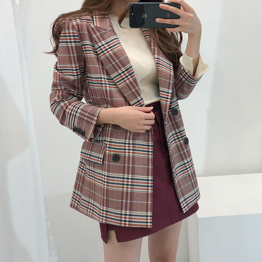 New Women Blazer Plaid Suit Coat Office Ladies Work Top Autumn Winter Women's Jackets And Coats Clothing