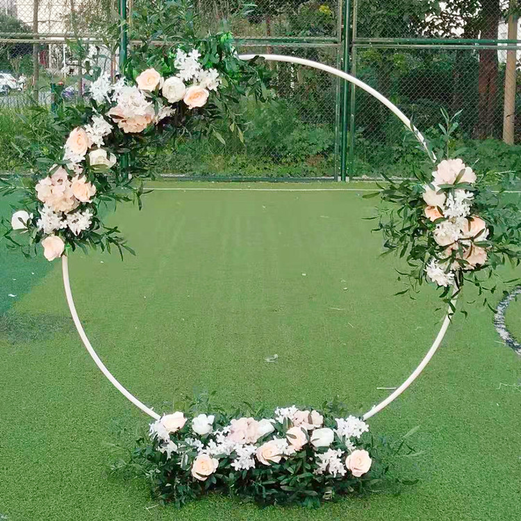 Image 3 - Artificial wrought iron round ring arch door simulation flower  row house holiday celebration wedding Christmas decoration EMSWedding  Arches