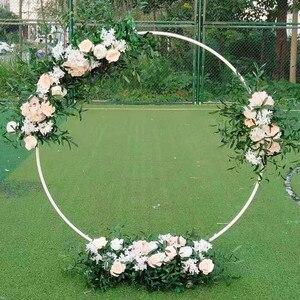 Image 3 - Kunstmatige Smeedijzeren Ronde Ring Boog Deur Simulatie Bloem Rij Huis Vakantie Viering Bruiloft Kerst Decoratie Ems