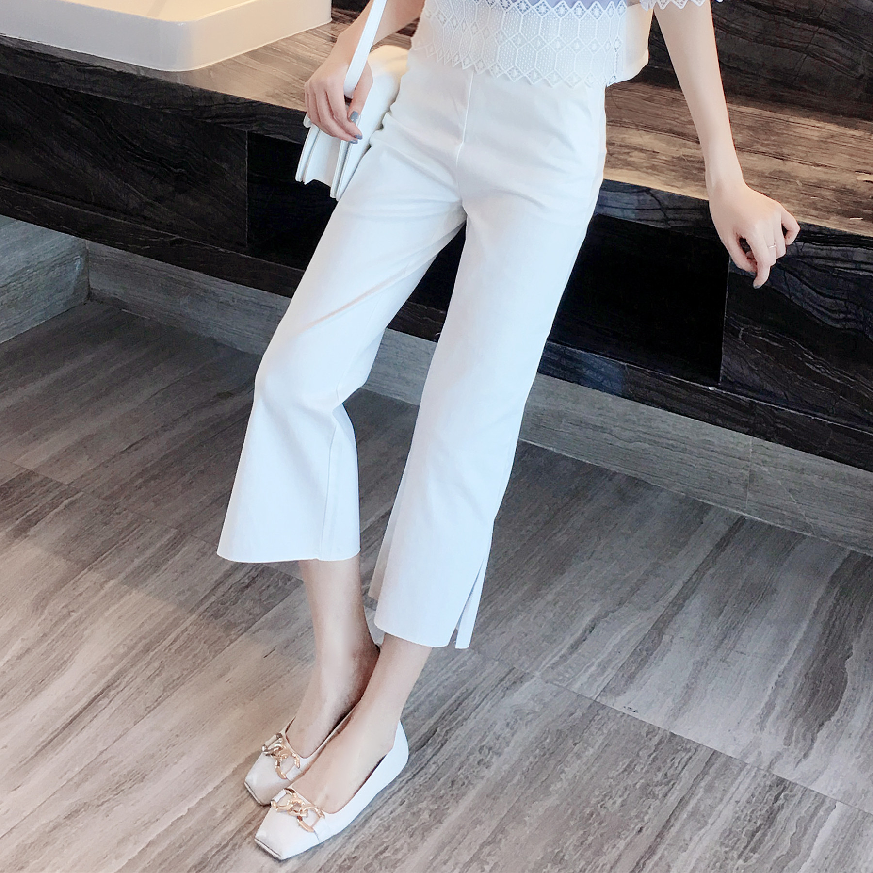 2019 Korean-style New Style High-waisted Loose   Pants   Casual   Capri     Pants   Slimming Drape   Pants   a Generation of Fat 9407-2