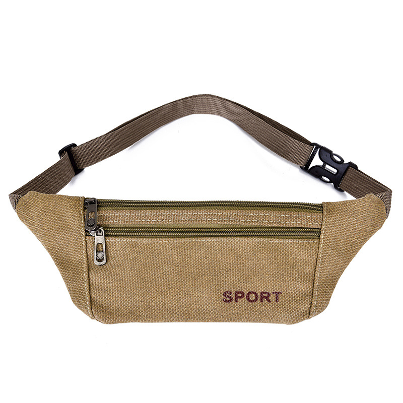 Fashion Casual Women's Ultra-Thin Canvas Waist Pack Wallet Mobile Phone Bag Men Hiking Mountain Climbing Storage Anti-theft Pock