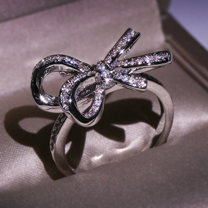 Real AAA Cubic Zirconia Rope Kont Bow Stackable Ring 100% 925 Sterling Silver Fine Jewelry Best Gift For Women Hot Selling