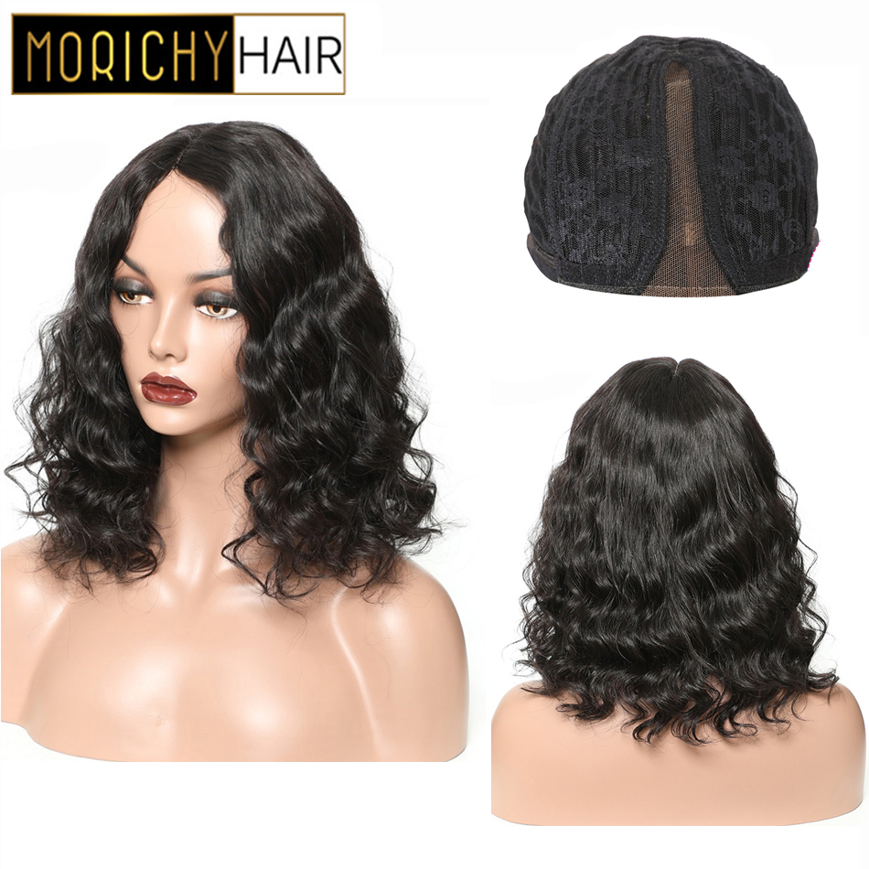 Morichy Part Lace Wigs Body Wave Peruvian Non-Remy Human Hair Wigs Romance Wave Natural Black For Woman 130% Density Female