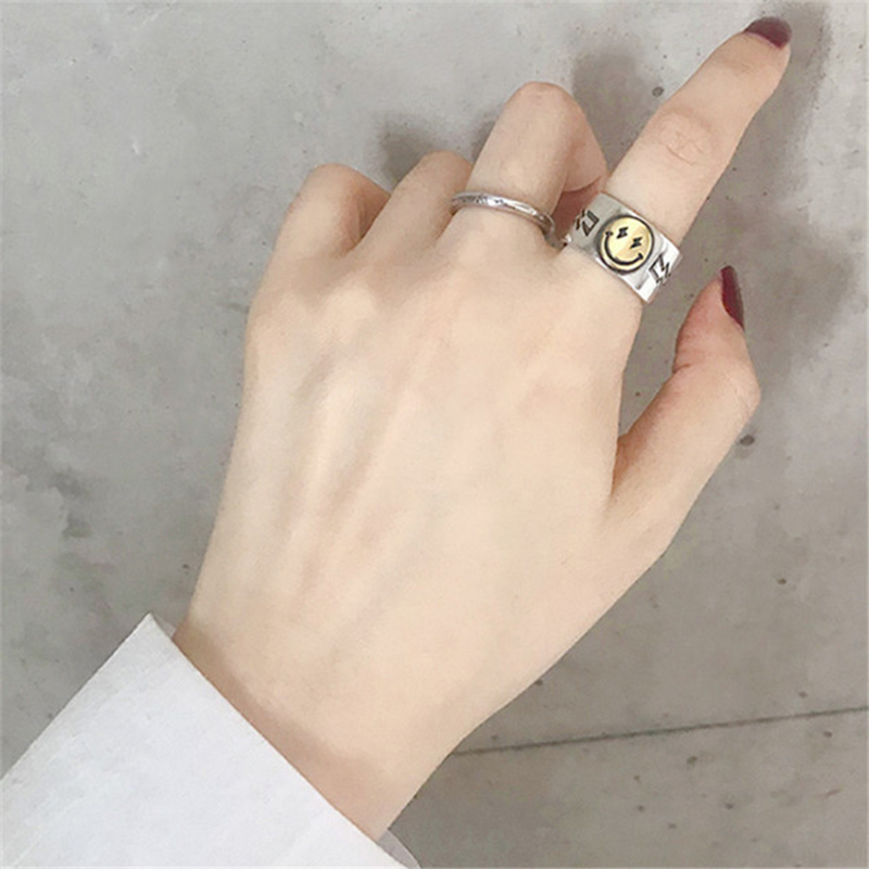 Hot Sale Happy Smiley Face Lightning Stamp Tibetan Ring Big Large Retro Vintage Golden Gothic Women Jewelry Rings