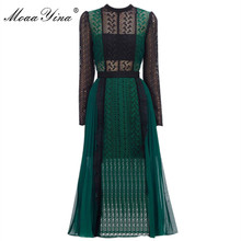 MoaaYina Spring Autumn New Arrive Green Lace Midi Dress Elegant Women Long sleeve dress high quality