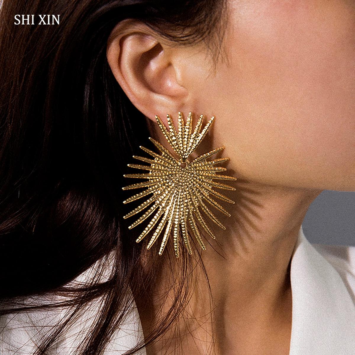 Большие серьги SHIXIN в стиле панк для женщин, винтажные дизайнерские серьги с уникальным сердцем, 2020, эффектные висячие серьги, модный подарок