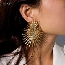 SHIXIN – grandes boucles d'oreilles style Punk pour femmes, Vintage, Unique, cœur, styliste, boucles d'oreilles pendantes, cadeau à la mode, 2020