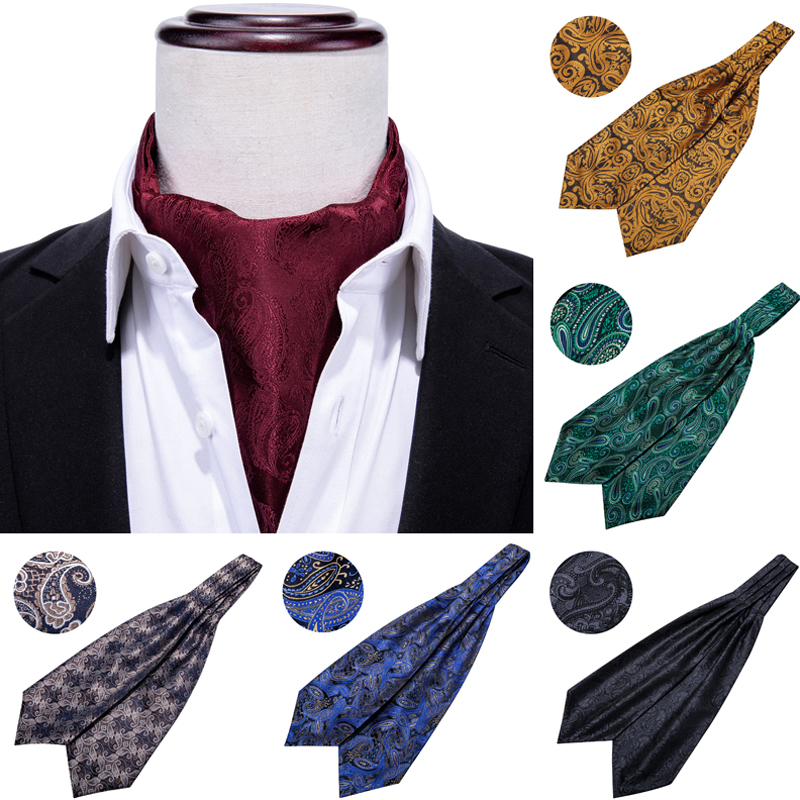 Silk Ascot Tie For Men Scarf Tie Suit Wine Red Men's Necktie Jacquard Set Fashion Pocket Square Cufflinks Barry.Wang AS-001