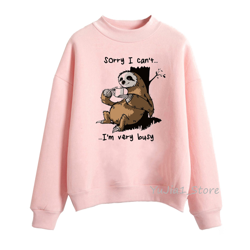 Busy Sloth Graphic Funny Hoodie Woman Harajuku Kawaii Bear Horse Animal Print Cartoon Sweatshirts Winter Top Clothes Streetwear