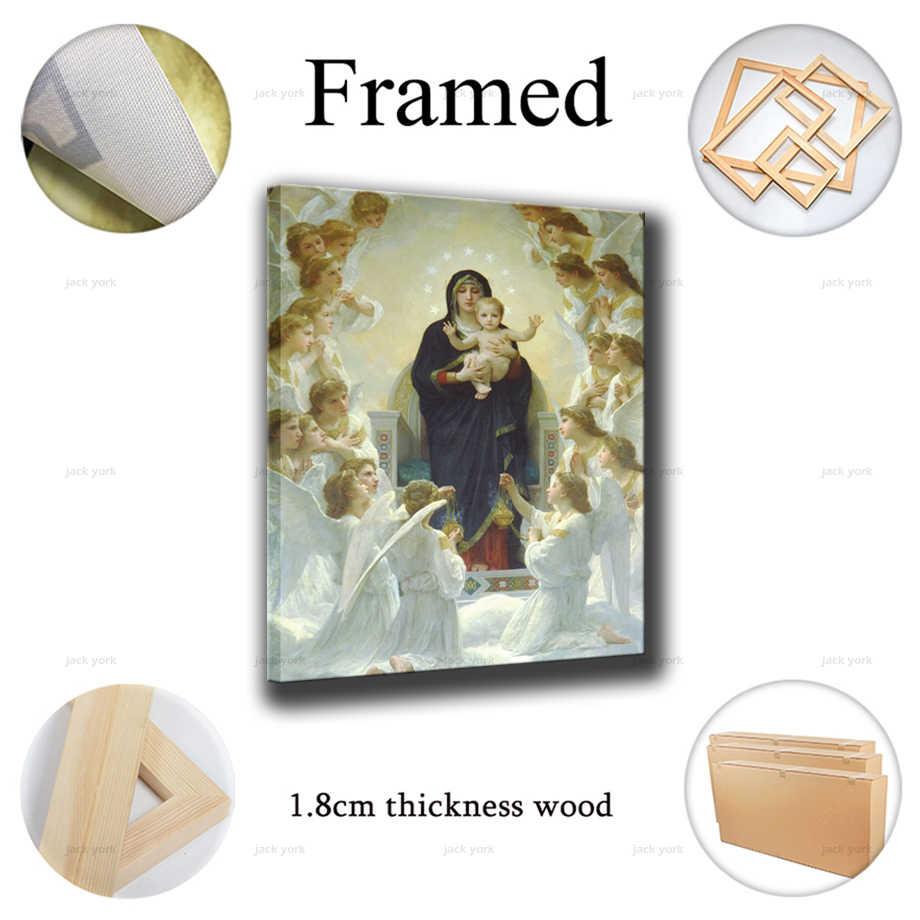 クリスチャン聖母マリアキャンバス絵画家の装飾モジュラー北欧スタイル写真現代プリントポスターリビングルームの壁アートフレーム