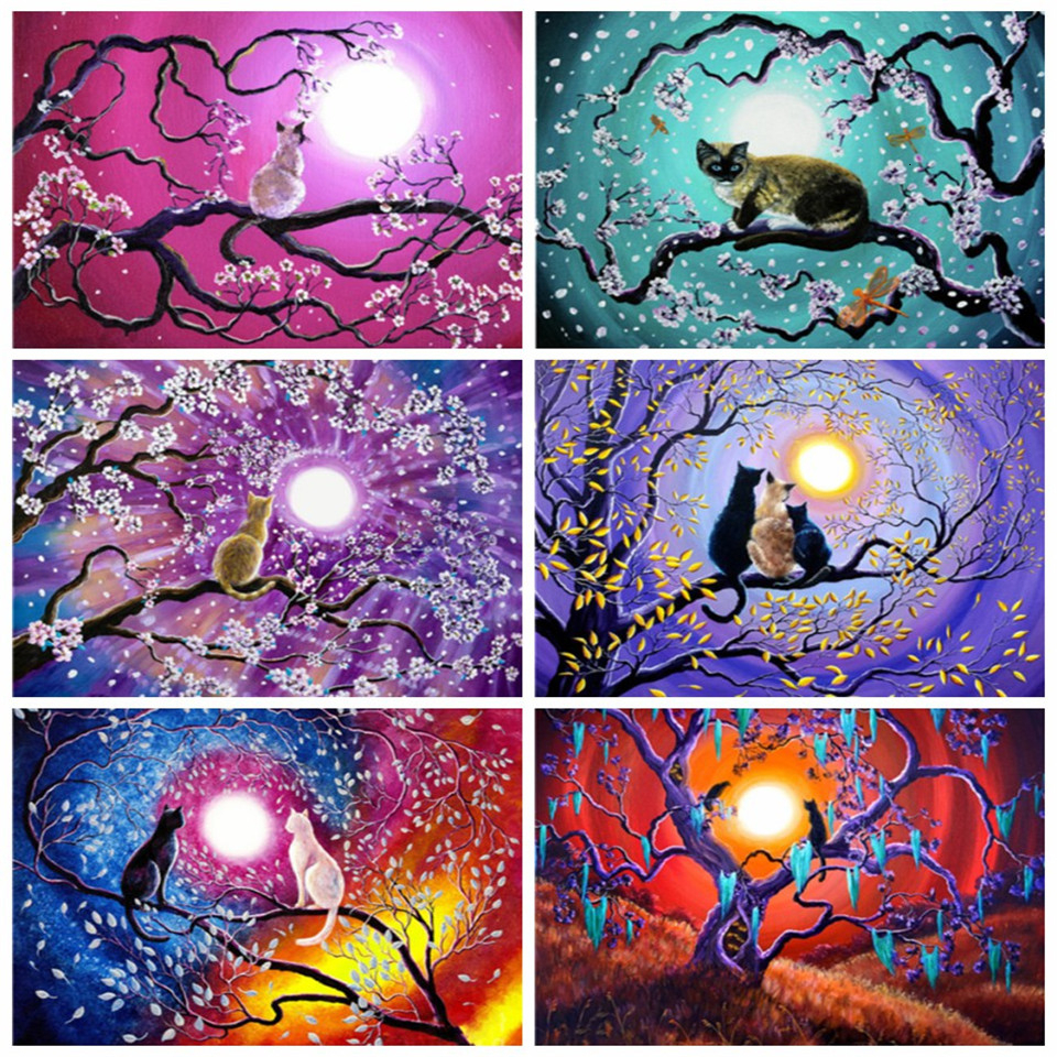 AZQSD Oil Painting By Numbers Cat Unique Gift DIY Paint By Number On Canvas Kits Cartoon Abstract Art Unframe Decoration