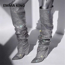 Gorgeous Women Rhinestone Pointed Toe The Knee High Boots Chic Bling Bling Crystal Chunky Heel Long Boots Women's Dress Shoes цены