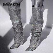 лучшая цена Gorgeous Women Rhinestone Pointed Toe The Knee High Boots Chic Bling Bling Crystal Chunky Heel Long Boots Women's Dress Shoes