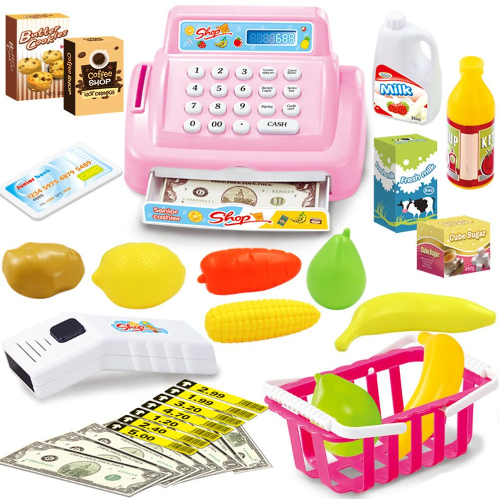 26Pcs/Set Shop Cash Register Scanner Cash Model With Sound Pretend Play Kids Toy Ideal Christmas Gift For Your Children Play
