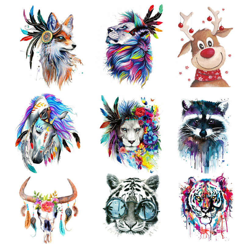 Wolf Unicorn Tiger Feather Patches Iron on Stripe Stickers For Clothes Heat Printed A-level Washable DIY Thermal Transfer