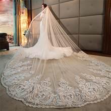 Véu de noiva longo, véu de noiva longo com aplique em renda, 4m, branco marfim