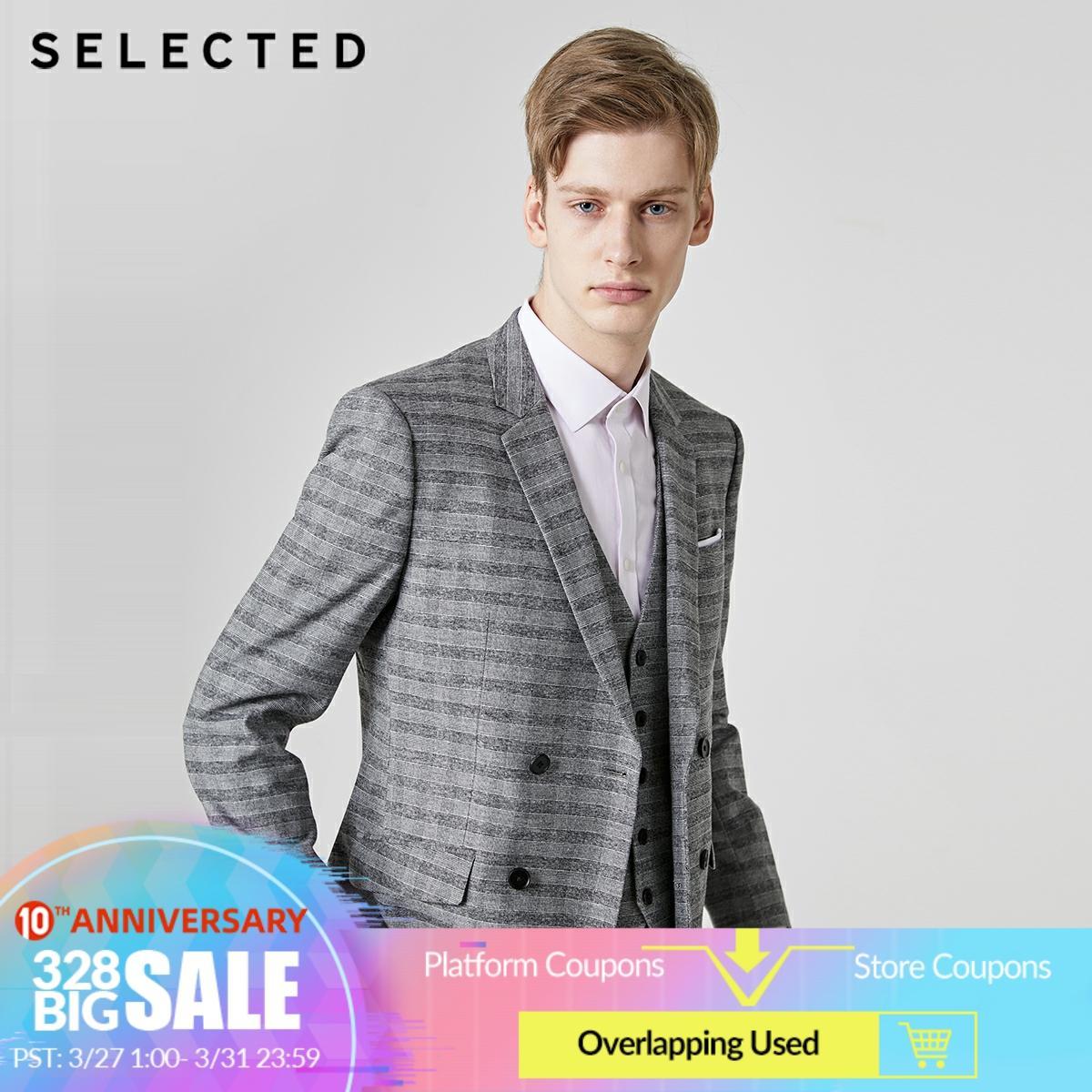 SELECTED Men's Regular Slim-Fit Stripe Blazer Closure Collar Jacket Clothes T | 41925X504