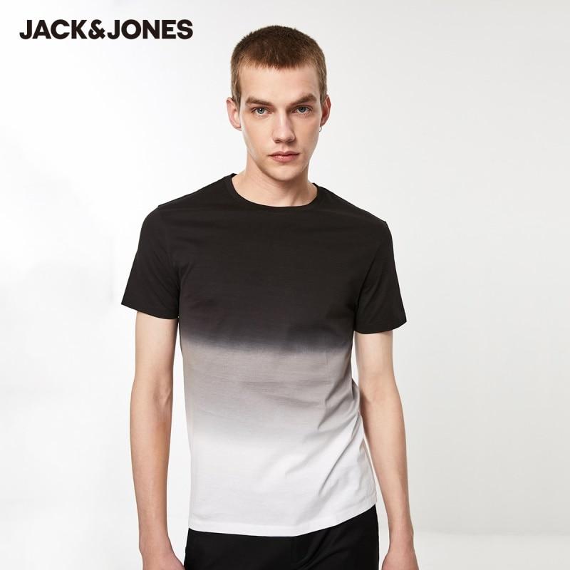JackJones Men's 100% Cotton Slim Fit Round Neckline Gradient Short-sleeved T-shirt  219201525