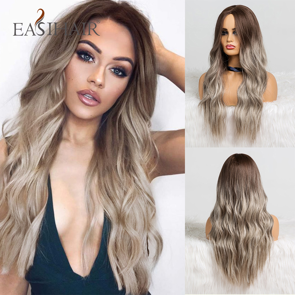 EASIHAIR Long Ombre Brown Synthetic Wigs Natural Wave Wigs for Women Heat Resistant Daily Cosplay Wigs Wavy Hair Wig(China)