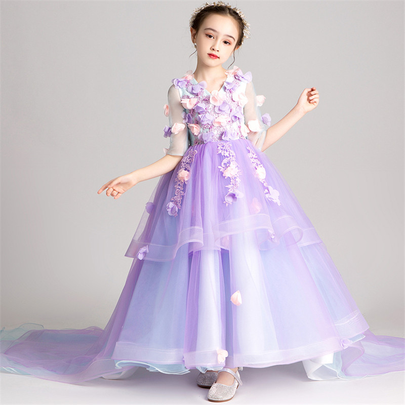 2019Elegant New Girls Children Sweet Purple Color Appliques Flowers Evening Party Long Tail Dress Kids Piano Costumes Host Dress