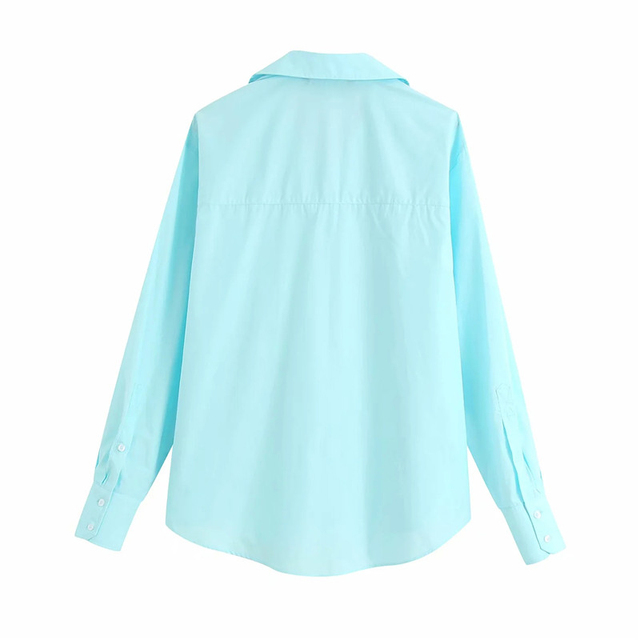 women casual summer long sleeve cotton za blue shirts female 2020 new fashion Candy color single breasted pocket blouse femme 2