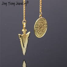 2019 Metal Reiki Copper reiki healing stones Pendulum Pendant Charms Chakra pendulo Chrome gold amulet pendulos Healing Pendulo