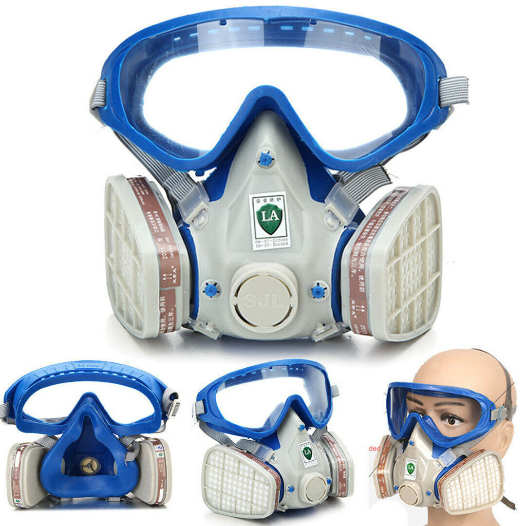 Silicone Full Face Chemical Respirator Gas Face Mask Goggles Comprehensive Cover Paint Pesticide Dustproof Protective Respirator