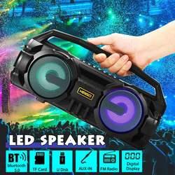 Portable bluetooth 5.0 Speaker 10W Stereo Bass Colorful LED Light Loudspeaker FM Radio Soundbar Subwoofer Wireless Speakers