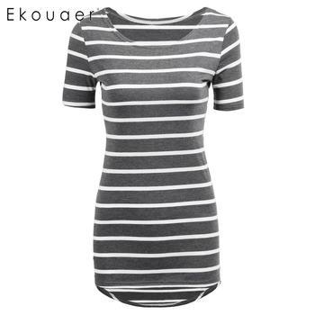 Ekouaer Women Casual Summer t shirts Short Sleeve Striped Long T-Shirt Tops Cheap Ladies Cothes 6 Colors