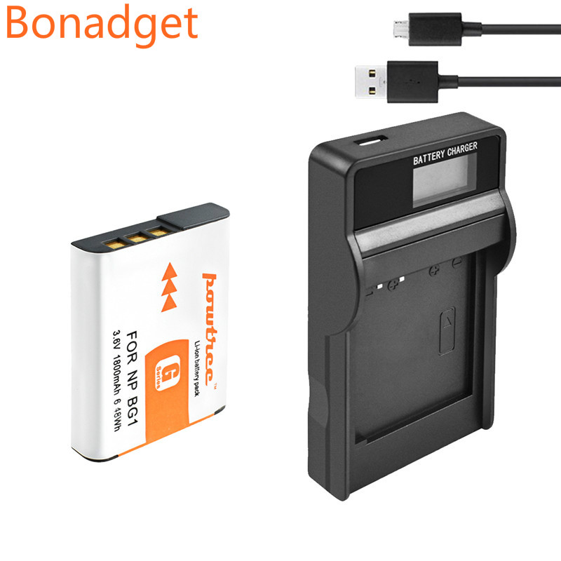 Bonadget 3.6V 1800mah NP-BG1 NP BG1 NPBG1 Battery + LCD Charger Recharge Camera Battery for Sony Cyber-shot DSC-H3 DSC-H7 DSC-H9 image