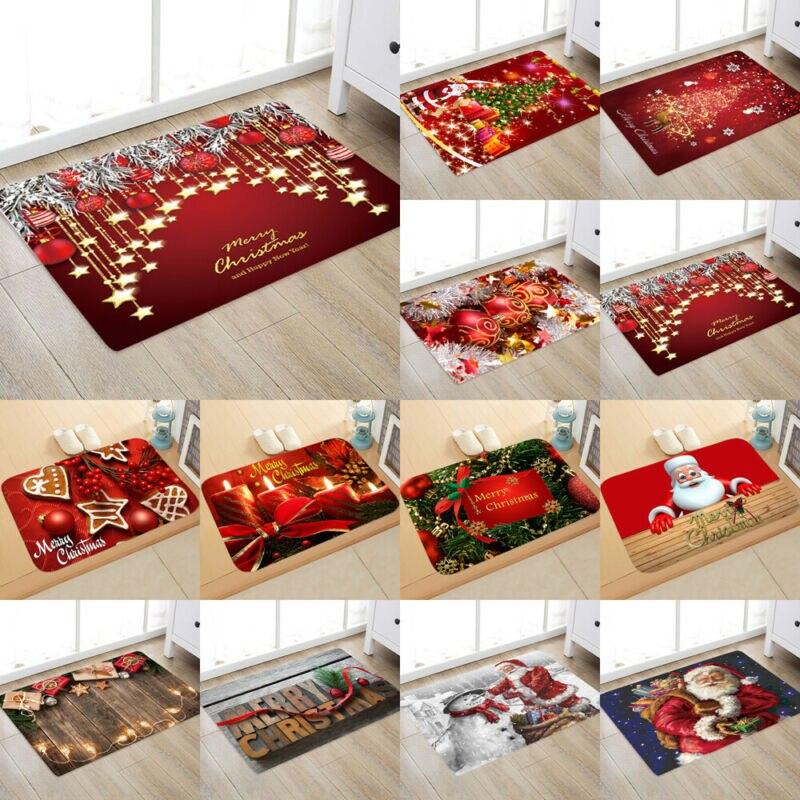 2019 New Fashion Santa Door Floor Mat Christmas Area Rug Holiday Kitchen Absorbent Anti-slip Bedroom MAT Carpet Decor