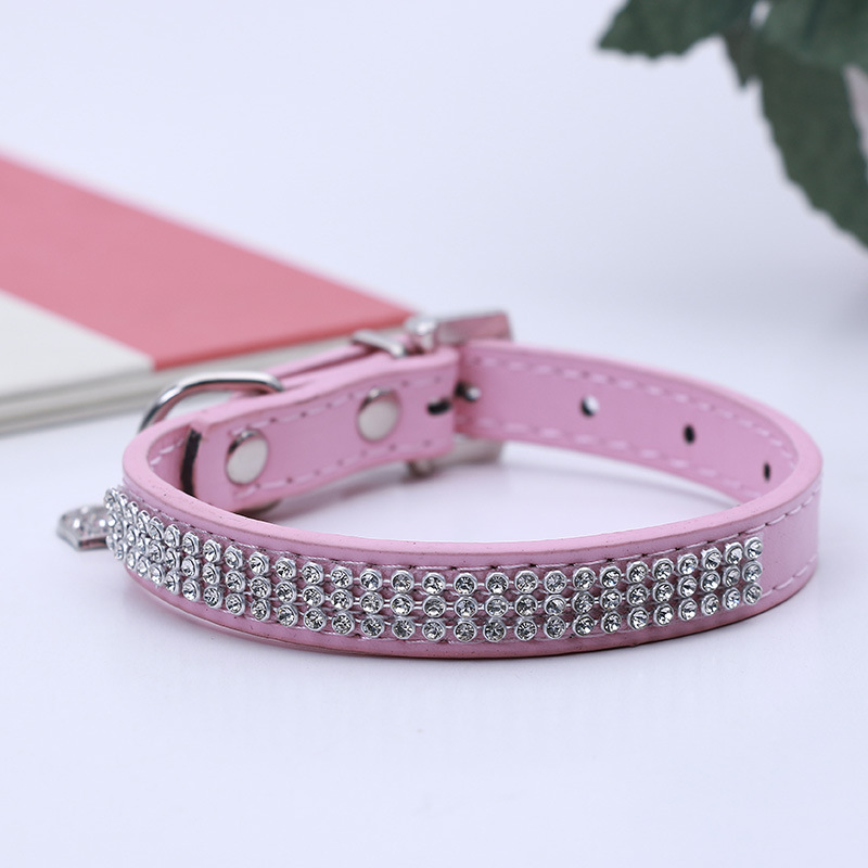New Style Pet Pu Neck Ring Creative Diamond Set Dog Neck Ring Neck Circle Adjustable Traction Neck Ring Manufacturers Wholesale