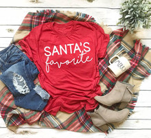 Santa's Favorit T-shirt Lucu Slogan Wanita Fashion Hipster Pesta Natal Gaya Tumblr Kasual Tumblr Kemeja Merah Tees-J957(China)