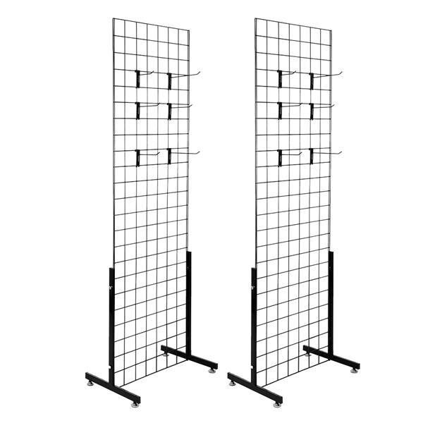 2pcs 5mm Grid Rack Wall Storage Shelf Iron Mesh Frame Multi function Wall Mounted Mesh Panel Wall Art Display Organizer - 2