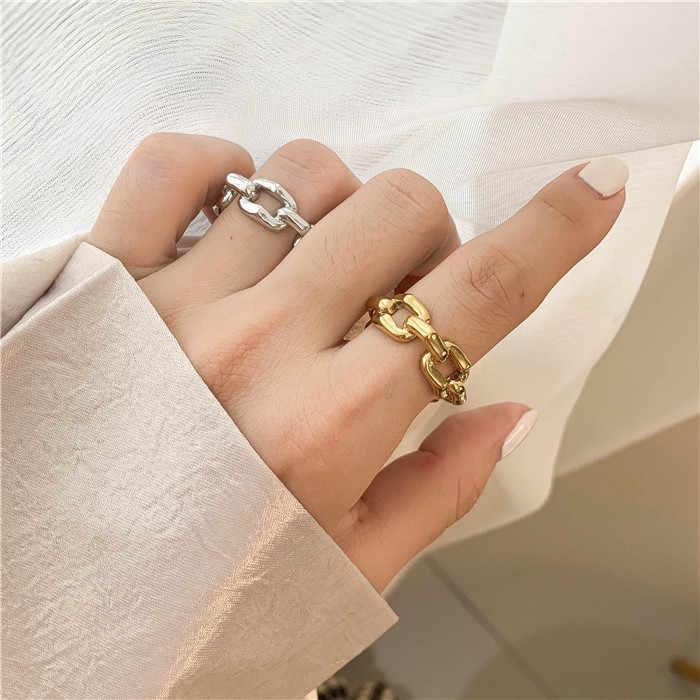 Peri'sBox Gold Silver สี Multi Link ไม่สม่ำเสมอแหวน Chunky CHAIN แหวนเรขาคณิตสำหรับผู้หญิง Minimalist แหวน 2019 ใหม่เครื่องประดับ