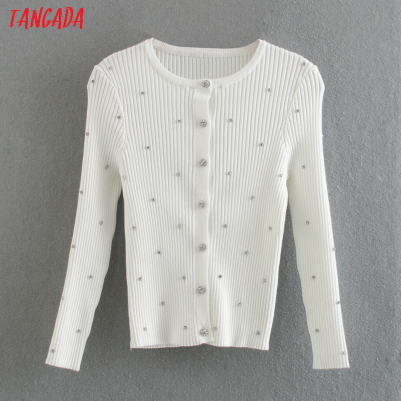 Tangada Women Elegant Slim Beading Cardigan Vintage Jumper Lady Fashion Fit Knitted Cardigan 3L01