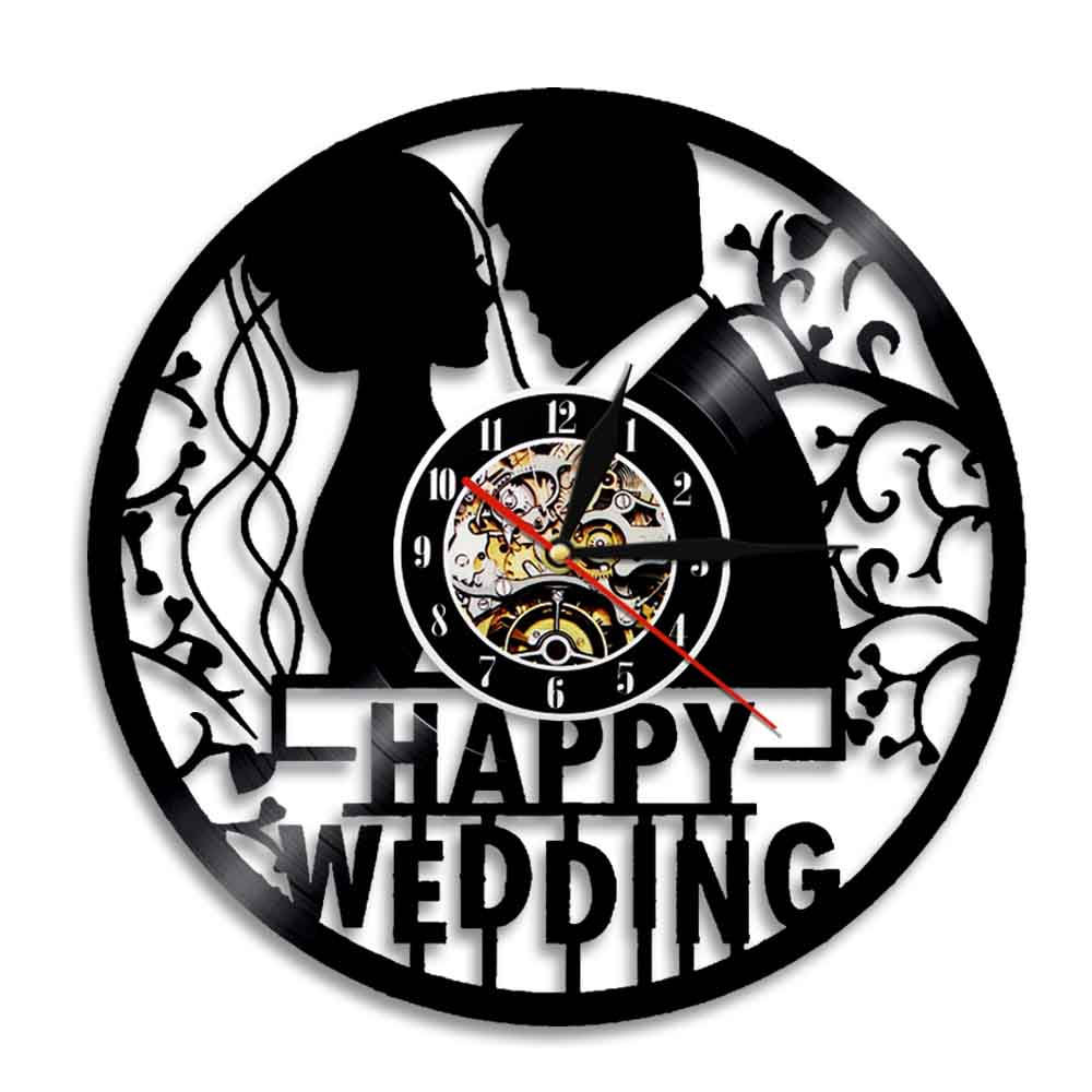 Personalised Happy Wedding Decor Vinyl Record Wall Clock Marriage Anniversary Wall Watch Mr And Mrs Home Decor Housewarming Gift