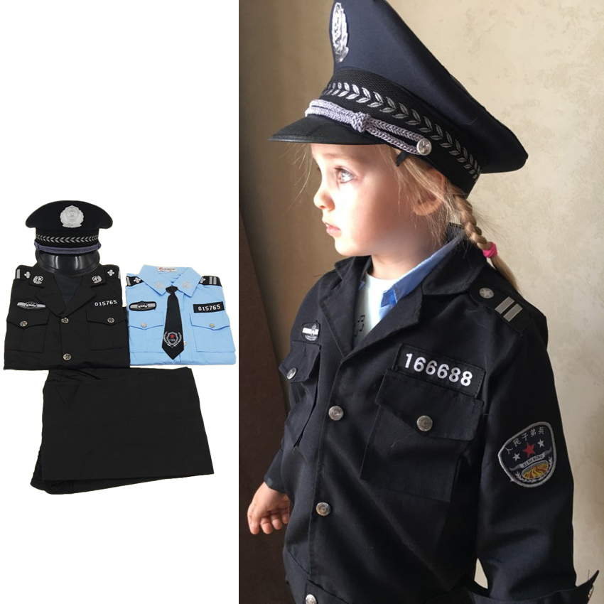 Cosplay Costumes Teenager Kids Boys Girls Police Uniform Traffic Policemen Cop Officer Suit Children Halloween Christmas Gift