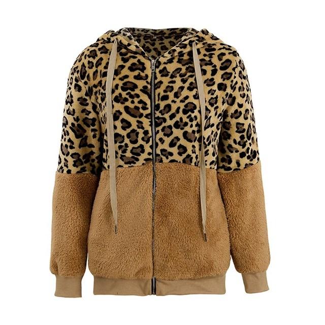 Wuhaobo Leopard Patchwork Women Teddy Coat Autumn Hooded Fluffy Plush Winter Faux Fur Jacket Coat Women Plus Size Overcoat