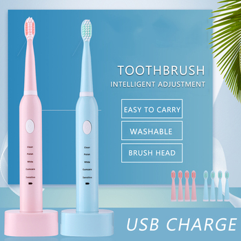 5 Modes Sonic Electric Toothbrush Rechargeable USB Waterproof Timer Tooth Brush Whitening for Adults + 4 Replacement Heads sonic electric toothbrush usb rechargeable 5 modes ultrasonic automatic brush timer waterproof dental brush teeth whitening