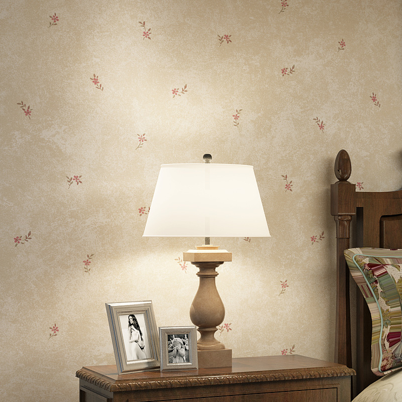 American Vintage Pastoral Style Small Floral Non-woven Wallpaper Bedroom Living Room Clothing Store Dark Green Light Yellow Wall