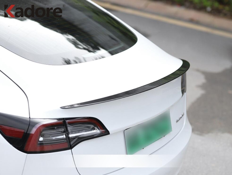Kadore for Tesla Model 3 2018-2019 Read Lamp Switch Panel Frame Decoration Cover Trim Stainless Steel Carbon Fiber Look 2-pc